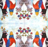 Салфетка декупажная Птицы с цветами 5595