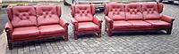 Комплект мягкой кожаной мебели 3+2+1. Кожаная мягкая мебель