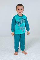 Детская теплая пижама из футера для мальчика | Бирюзовая