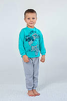 Детская теплая пижама из футера для мальчика | Бирюзовая Серый+Голубой