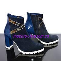 Женские зимние синие ботинки на устойчивом каблуке, замш/ лаковый кожзам