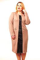 Стильное платье большого размера Алина беж(52-58), фото 1