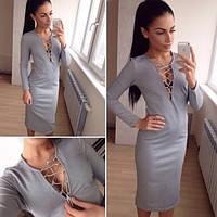 Модное стильное платье со шнуровкой спереди. Артикул SM39