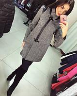 """Женское демисезонное пальто """"Диана"""" из твида с отделкой """"кожи"""""""