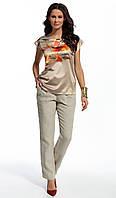 Женские летние брюки бежевого цвета из льна. Модель 210052 Enny, весна-лето 2016.
