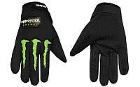 Мото перчатки , вело рукавиці, закрытые MONSTER ENERGY (р-р M-XL) (black)
