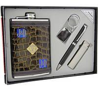 Фляга Jack Daniels в наборе с зажигалкой, ручкой и брелком.