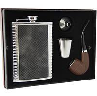 Набор на подарок. Фляга, курительная трубка, стаканчик металл, лейка.
