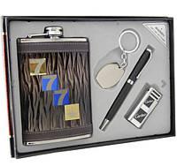"""Подарочный набор """"""""777"""""""". Фляга, кремниевая зажигалка, ручка и брелок."""""""
