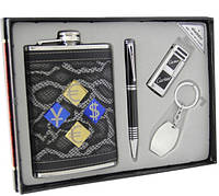 Фляга денежные знаки в наборе с кремниевой зажигалкой, ручкой, брелком.