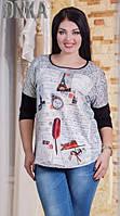 Стильная женская туника с модным принтом с закругленным низом трикотаж микродайвинг батал Турция