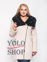 Женское кашемировое пальто на молнии с мехом и капюшоном №42 (зимнее)