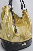 Сумка - мешок с чёрной отделкой  из натуральной кожи  Velina Fabbiano