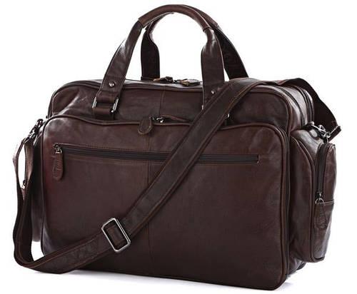 """Удобная кожаная сумка для ноутбука 15,6 """" S.J.D. 7150Q, коричневая"""