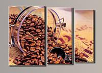 """Модульная картина на холсте из 3-х частей """"Кофе в банке"""""""