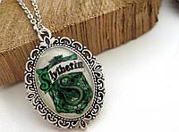 Кулон Значок Слизерин из Гарри Поттера, медальон на цепочке (серебристый цвет, ручная работа)