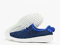 Детские кроссовки Adidas Yeezy Boost 350 черные с синим (адидас изи буст)