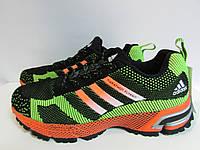 Мужские кроссовки Adidas черно-салатовые с оранжевым ( ТР-15) код 952А