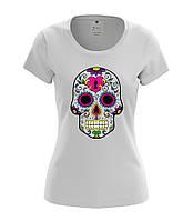 Стильная футболка с принтом FLOWER SKULL