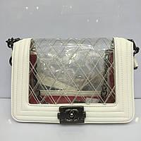 Женская сумка клатч Chanel Boy (Шанель Бой) 1138 белая с силиконовой вставкой