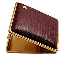 Портсигар 901138 для 18 KS сигарет, кожа кроко (Eid) бордо/золото, резинка