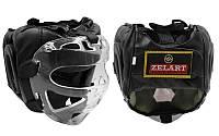 Шлем для единоборств с прозрачной маской PU ZB-5209-BK (черный, р-р M-XL)