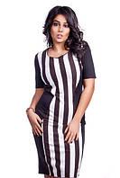 Контрастное облегающее женское платье в черно-белую вертикальную полоску трикотаж лакоста батал