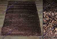 Высоковорсный ковер Супершайн shaggy, однотонный, коричневый