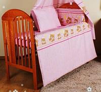 """Детские постельные комплекты в кроватку (8 предметов)-""""Мишки в кружочек розовые"""".Балдахин вуаль"""