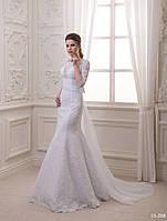 Свадебное платье с шифоновым шлейфом