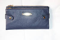Кожаный женский кошелек на молнии синего цвета