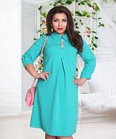 Модное женское платье с завышенной талией с украшением стрейч креп батал