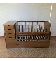"""Дитяче ліжко-трансформер """"Колисковий світ"""" (коричневе)"""