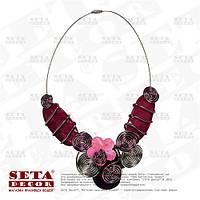 """Ожерелье (колье, подвеска) """"Сиреневая капля"""" из натурального перламутра"""