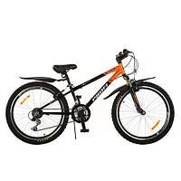 Горный велосипед MTB 24 дюйма PROFI - MODE XM242 (черно-оранжевый) на алюминиевой раме