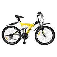 Спортивный велосипед 24 дюйма PROFI - CYCLOPS, M2415А  (черно-желтый) на стальной раме