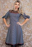 Нарядное женское расклешенное платье с кружевом
