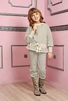 Теплый трикотажный костюм для девочки с люрексом | Штаны+Кофта