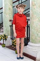 Модное трикотажное платье для девочки | Весна 2016 Терракот