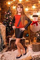 Платье с кожаными вставками для девочки на праздник