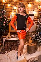 Платье с кожаными вставками для девочки на праздник Черный