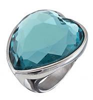 Перстень с камнем,сердце,нержавеющая сталь, позолота 18 к,размер19,5