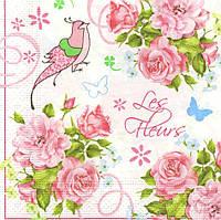 Салфетка декупажная Розы и птица 5628