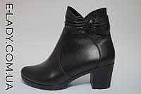 Черные ботиночки из натуральной кожи на невысоком каблуке