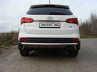 Защита заднего бампера - ус одинарный (нержавейка d=70) для Hyundai Santa Fe III (2012+)