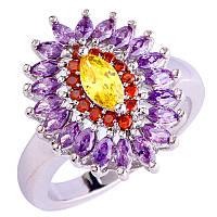 """Перстень,стиль""""Маркиз"""",камни кварц,топаз,аметист,гранат размер 19,5"""