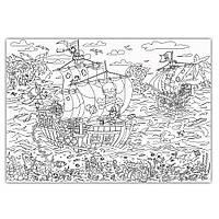Обои раскраска Пиратский корабль