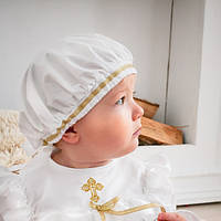 Детский берет Славянский от Miminobaby белый с золотой тесьмой 48-52 см