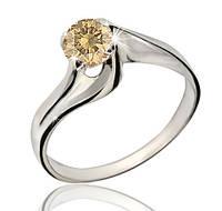 Серебряное родированное кольцо солитер с одним шампань бежевым камнем цирконием, фианитом к00249р кв