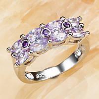 Перстень,подарок для помолвки,свадьбы,камни турмалин,аметист,размер 17